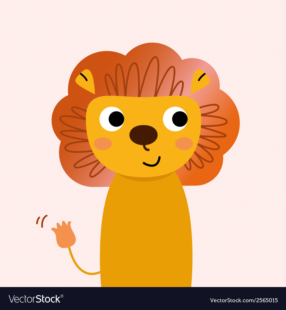 Beautiful cartoon lion character vector | Price: 1 Credit (USD $1)