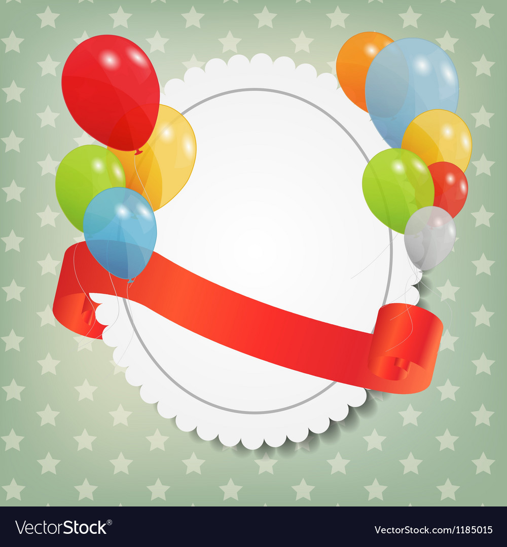 Birthday card with colored ballons vector | Price: 1 Credit (USD $1)