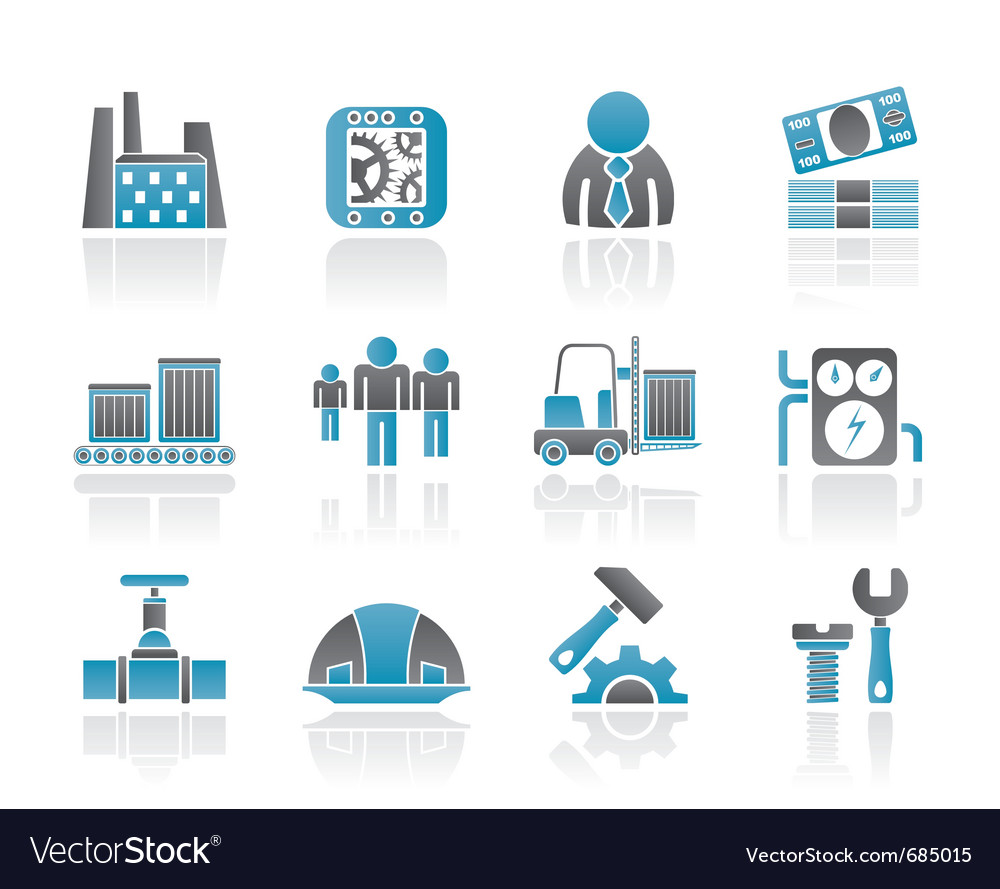 Business and factory icons vector | Price: 1 Credit (USD $1)