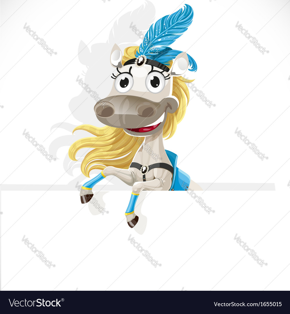 Cute circus horse hold big banner vector | Price: 3 Credit (USD $3)
