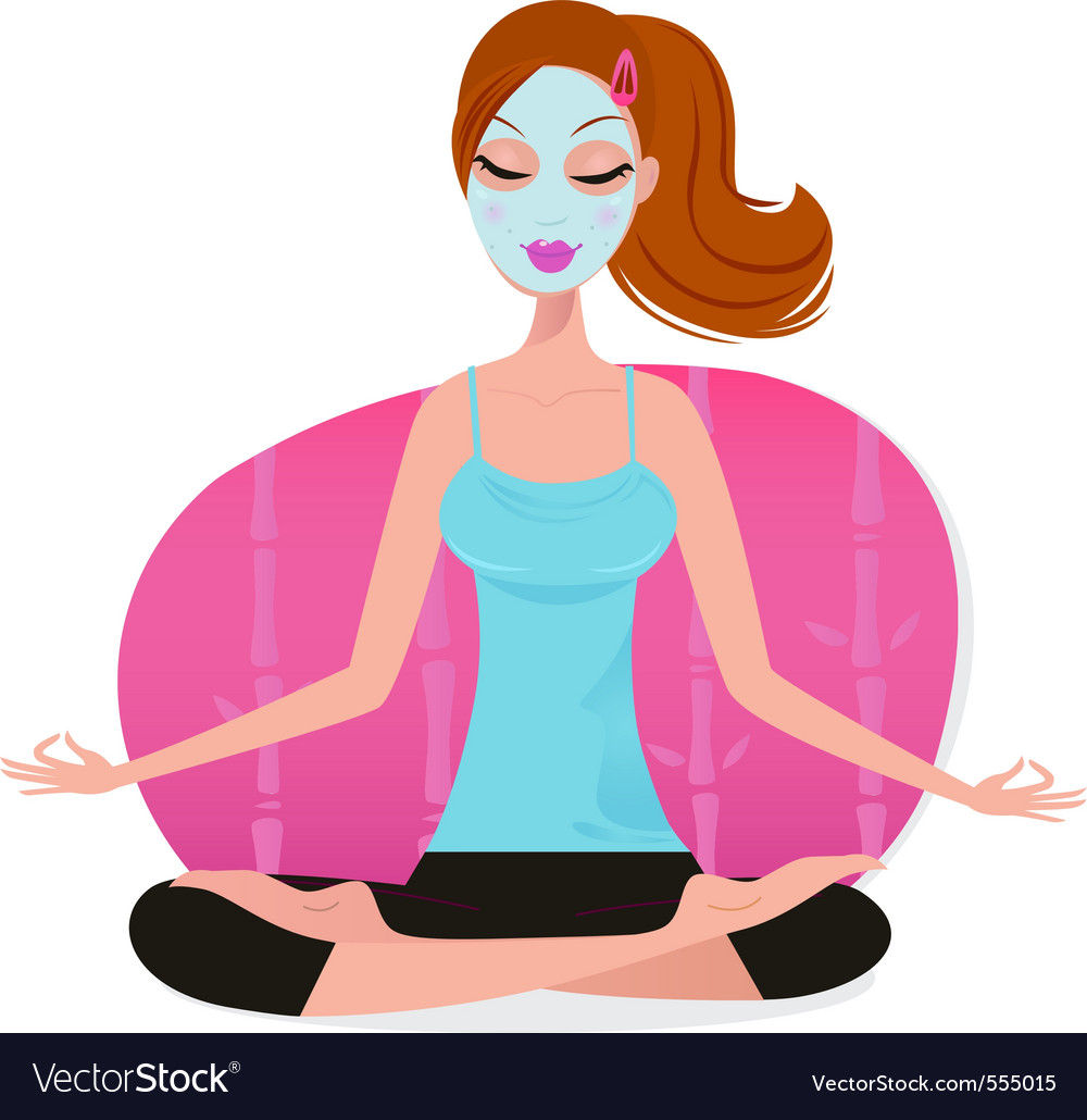 Cute young woman with facial mask doing yoga pose vector | Price: 1 Credit (USD $1)