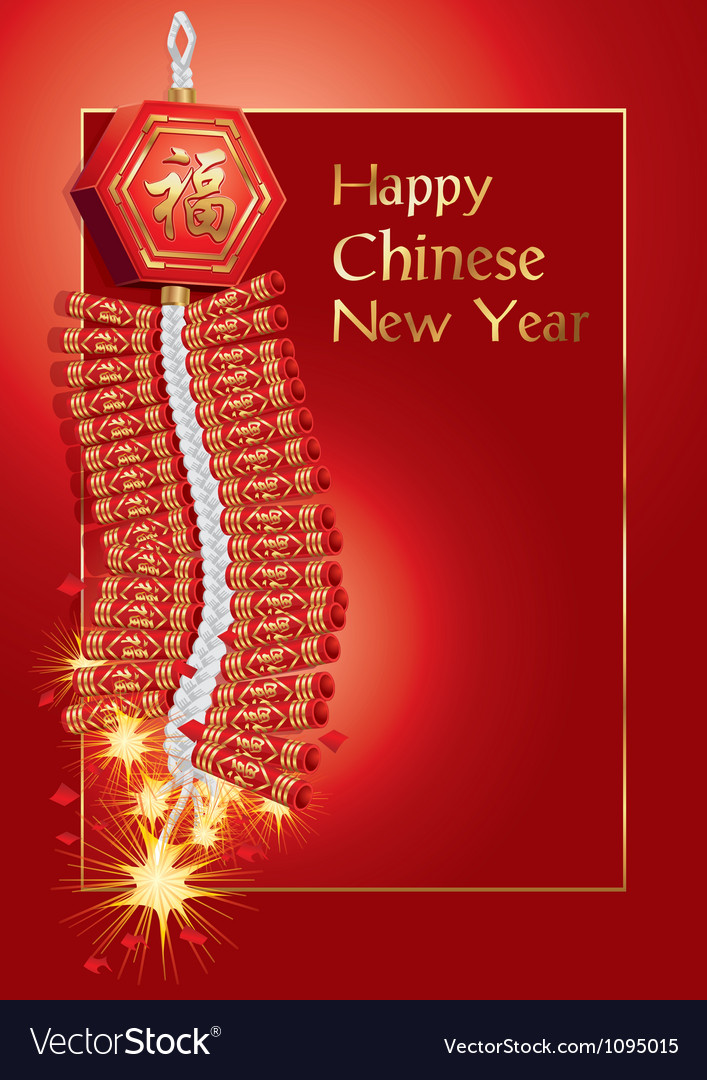 Red firecrackers on chinese new year card vector | Price: 1 Credit (USD $1)