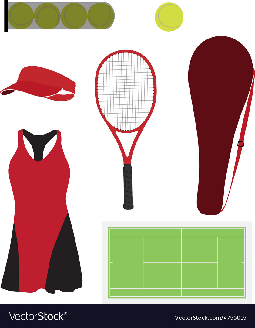 Tennis equipment set vector | Price: 1 Credit (USD $1)