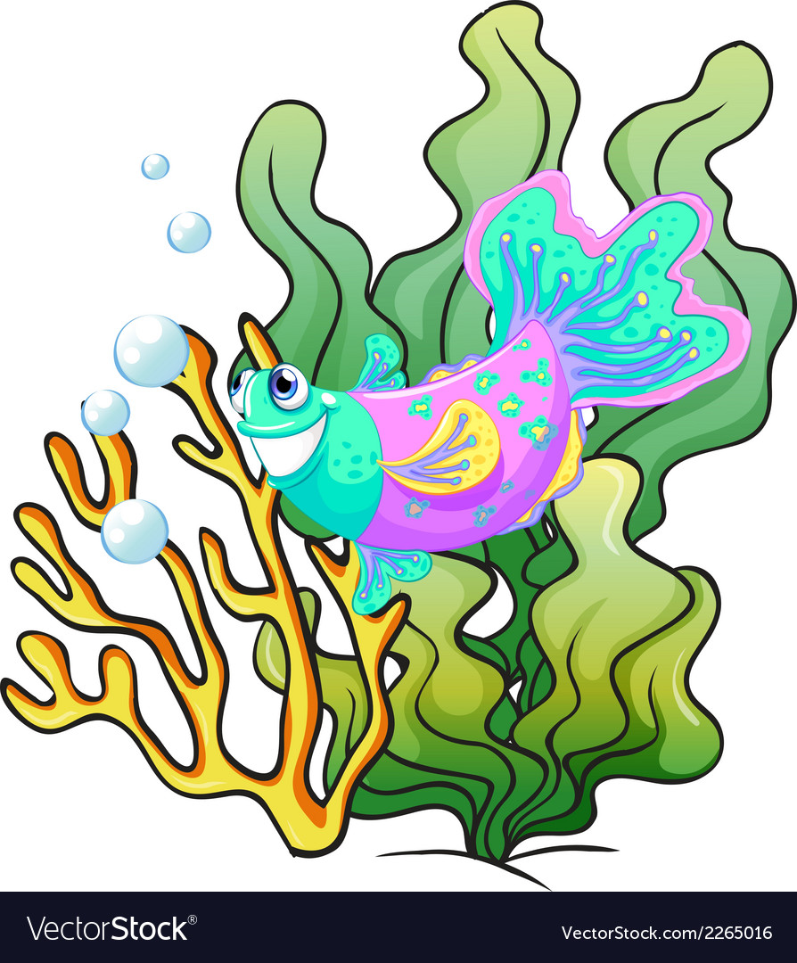 A colourful smiling fish under the sea vector | Price: 1 Credit (USD $1)