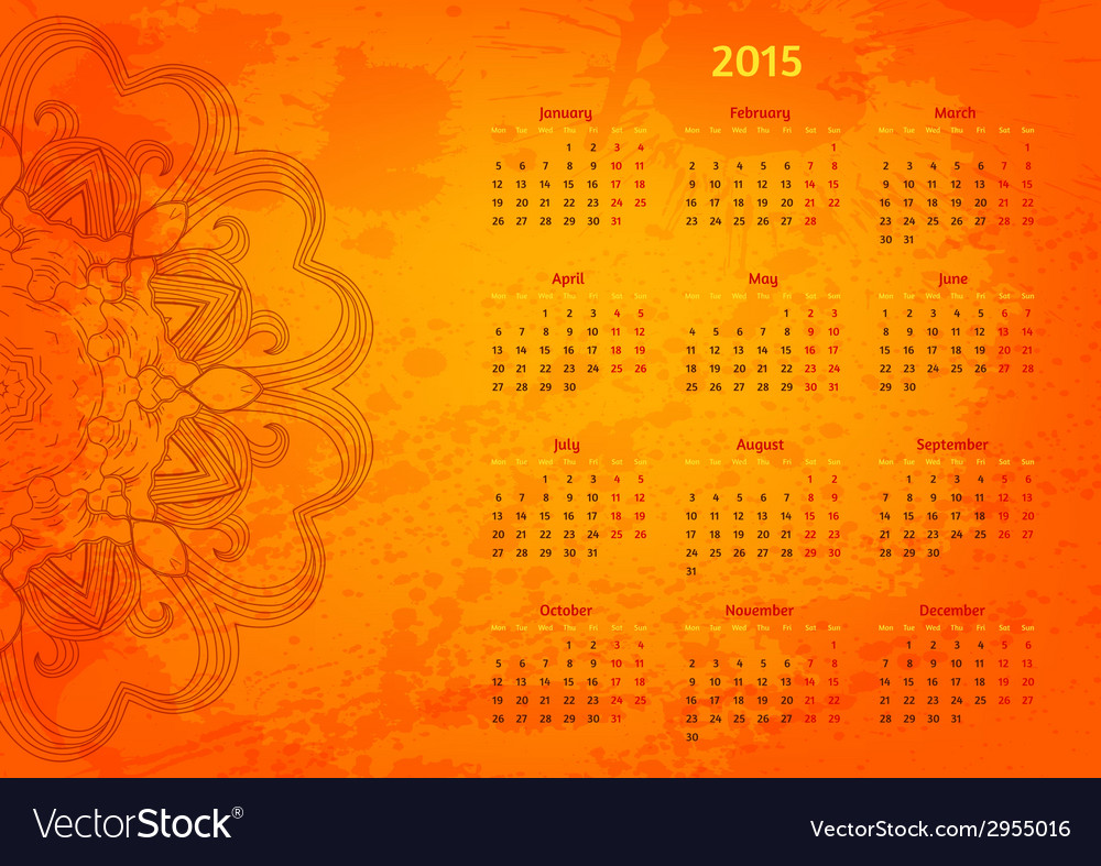 Abstract artistic arabesque 2015 year calendar vector | Price: 1 Credit (USD $1)