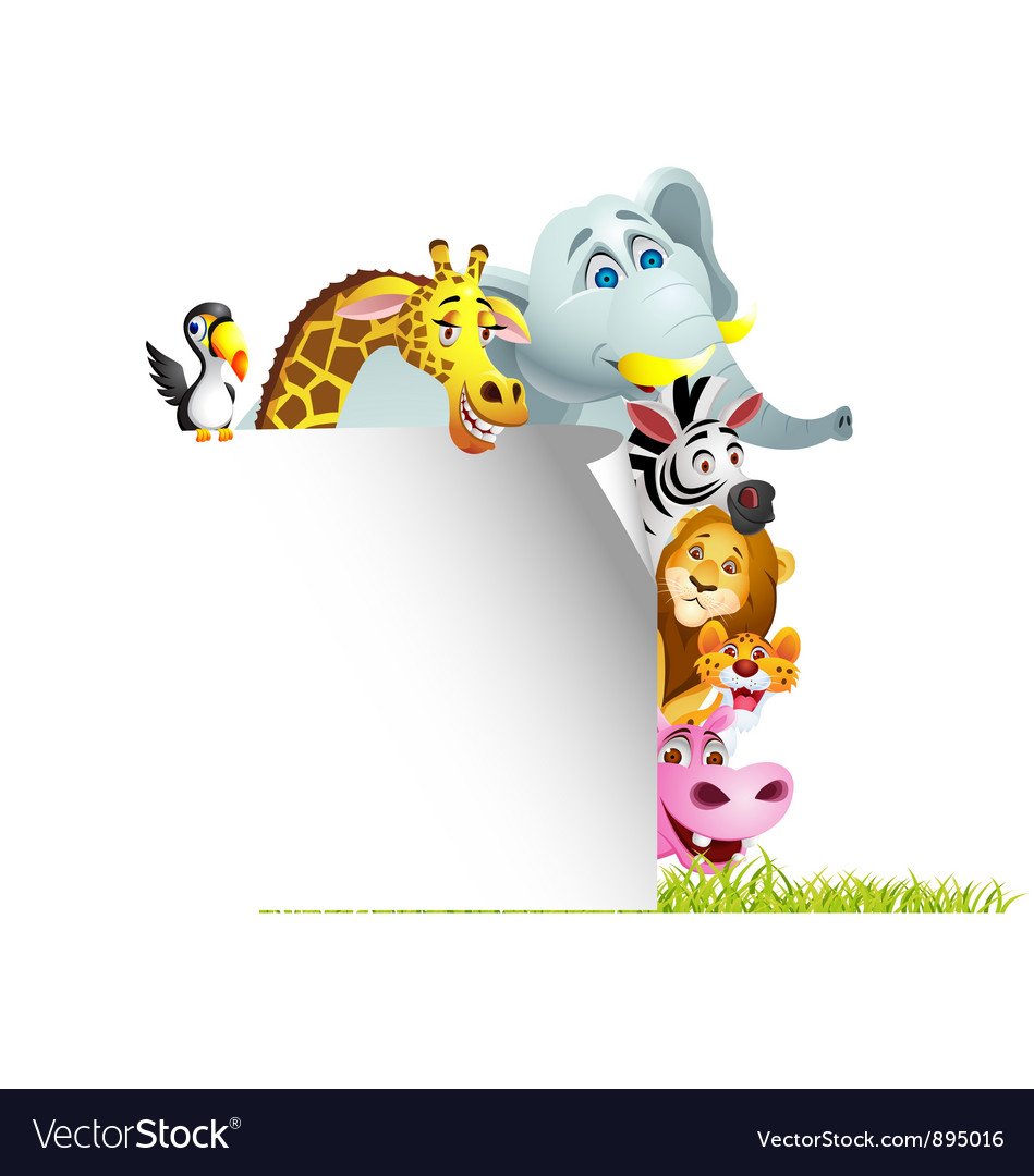 Animal cartoon with blank sign vector | Price: 3 Credit (USD $3)