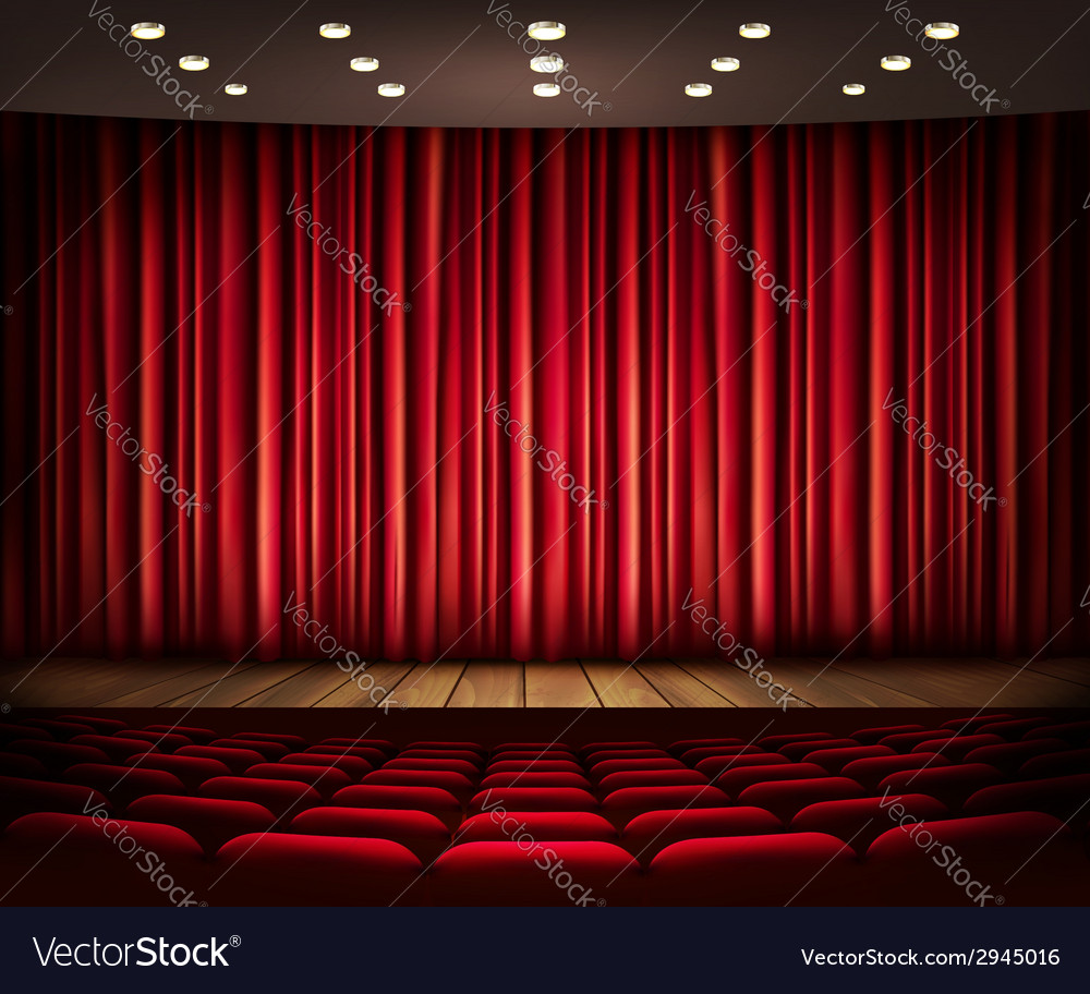 Cinema or theater scene with a curtain vector | Price: 1 Credit (USD $1)