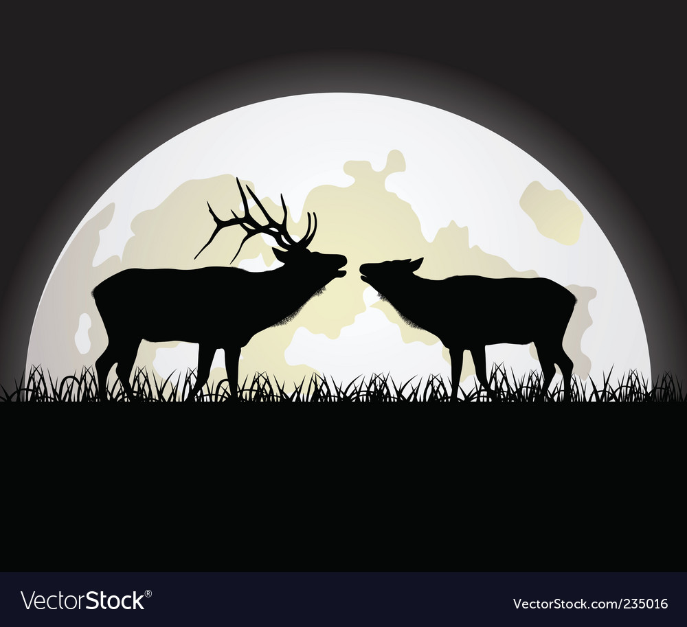 Deer against the moon vector | Price: 1 Credit (USD $1)