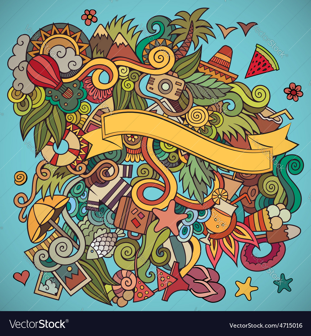 Doodles abstract decorative summer background vector   Price: 1 Credit (USD $1)