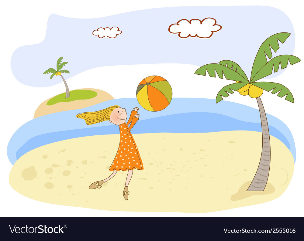 Girl play ball on the beach vector | Price: 1 Credit (USD $1)