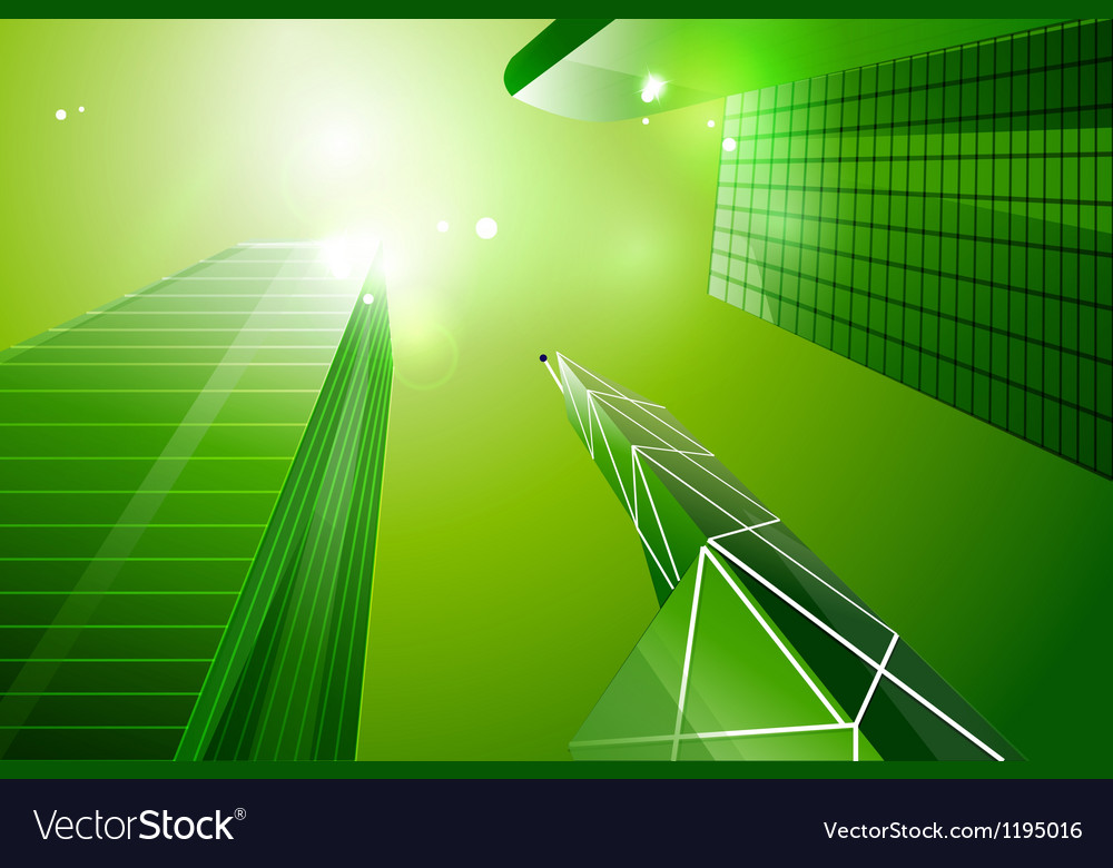Green eco business city background vector | Price: 1 Credit (USD $1)