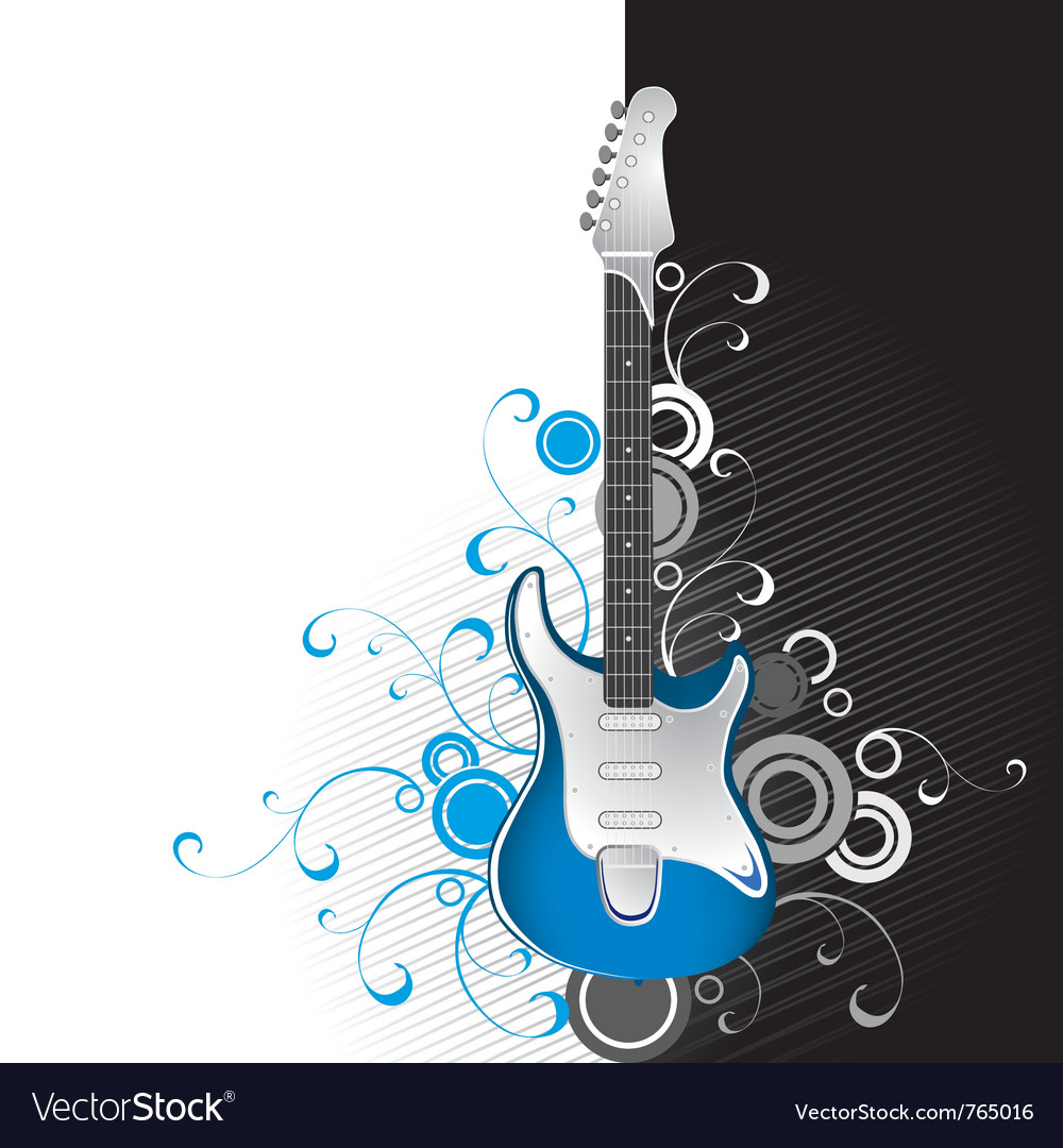 Guitar on a black-and-white background vector | Price: 1 Credit (USD $1)