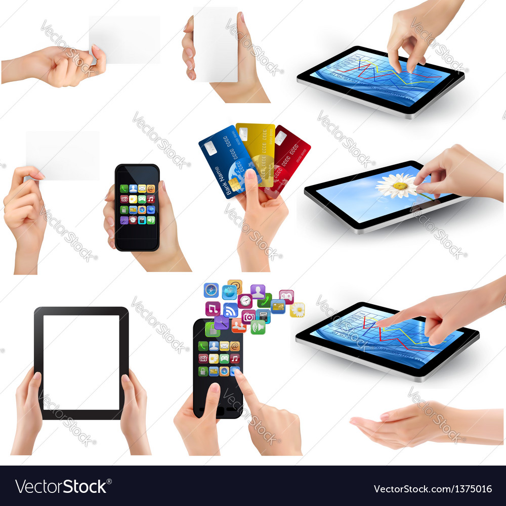 Hands holding different business devices vector | Price: 3 Credit (USD $3)