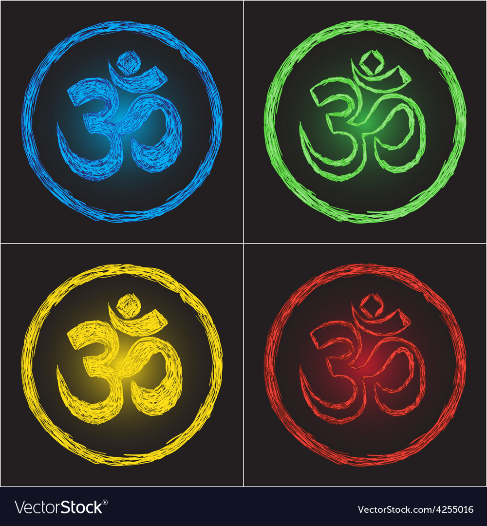 Hinduism religion golden symbol om on black backgr vector | Price: 1 Credit (USD $1)