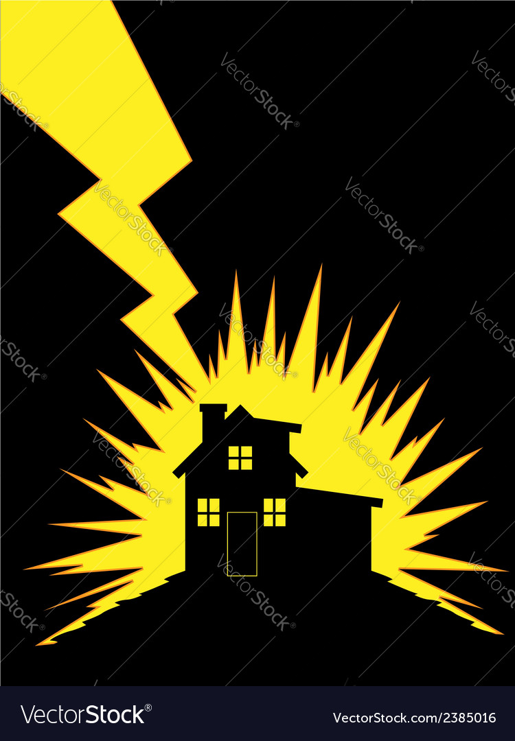 House struck by lightning vector | Price: 1 Credit (USD $1)