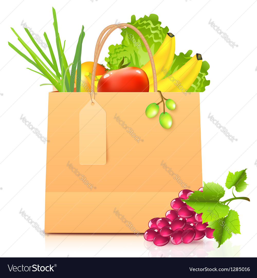 Isolated paper bag with vegetables vector | Price: 1 Credit (USD $1)