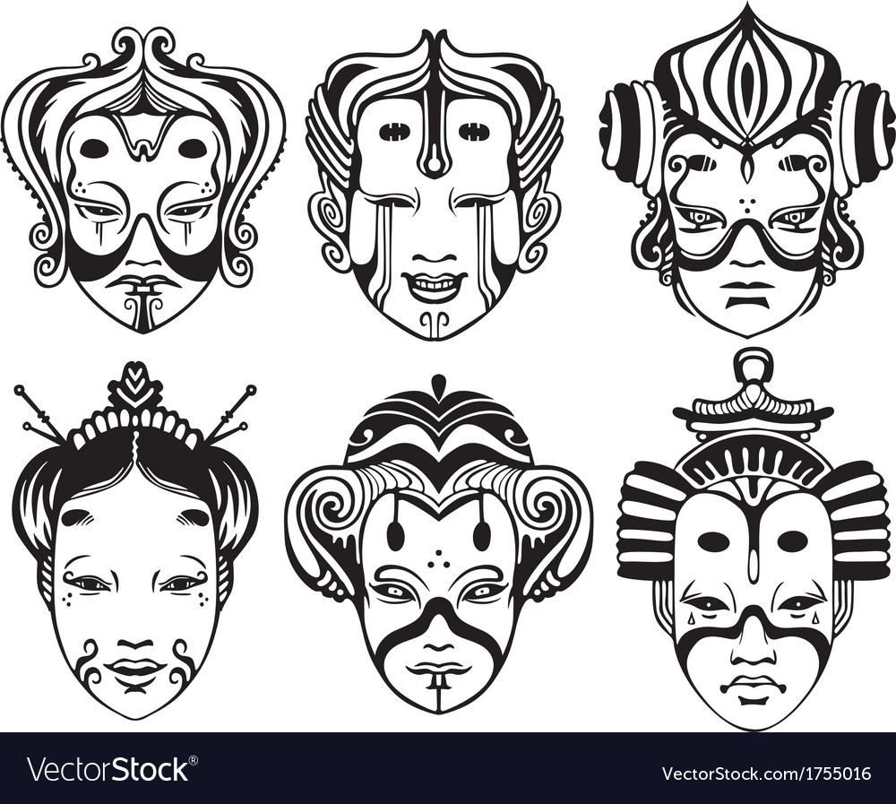 Japanese tsure noh theatrical masks vector | Price: 1 Credit (USD $1)