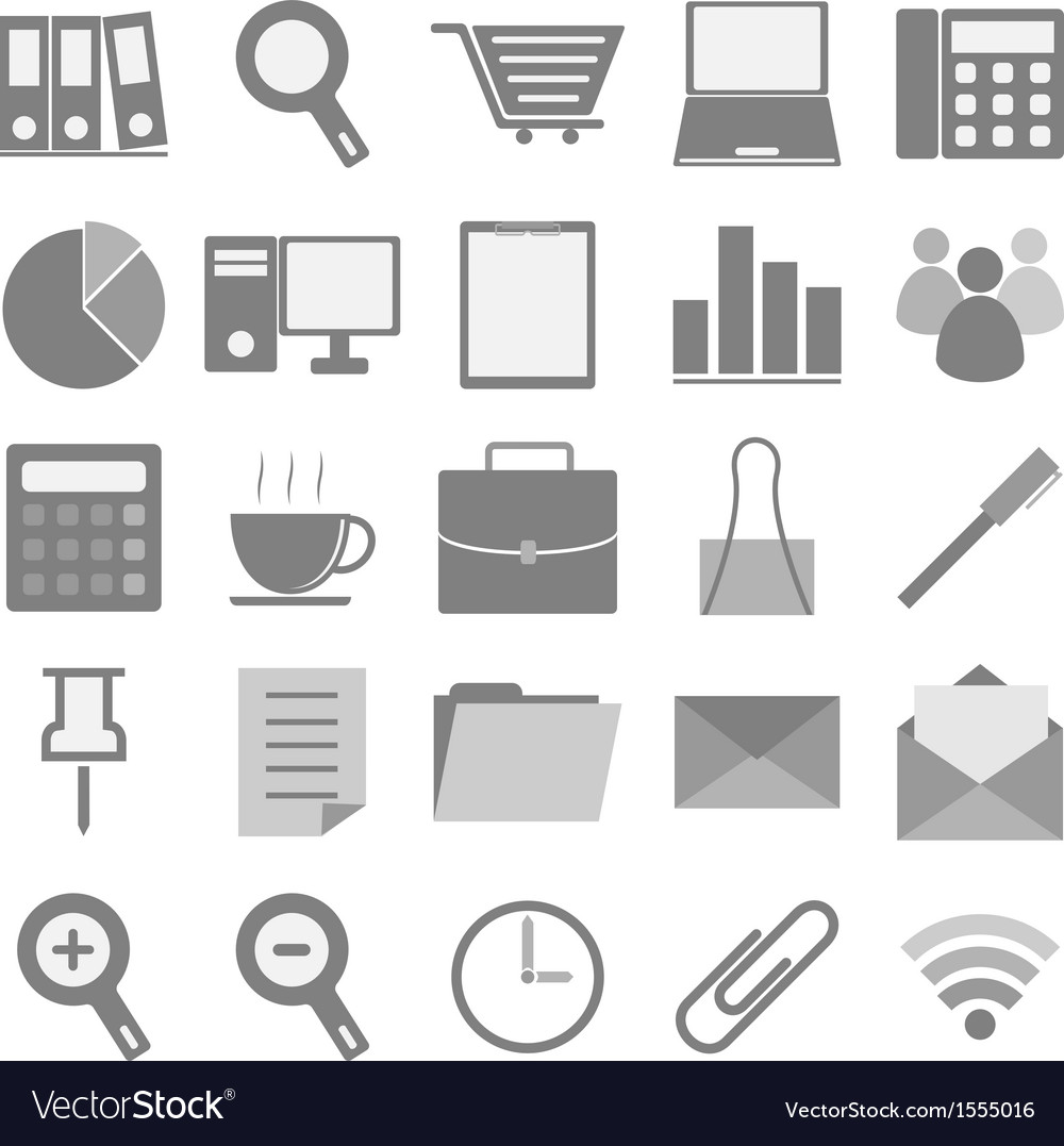 Office icons with white background vector | Price: 1 Credit (USD $1)