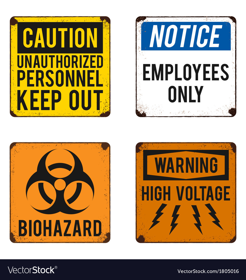 Safety signs on rusty metal placards vector | Price: 1 Credit (USD $1)
