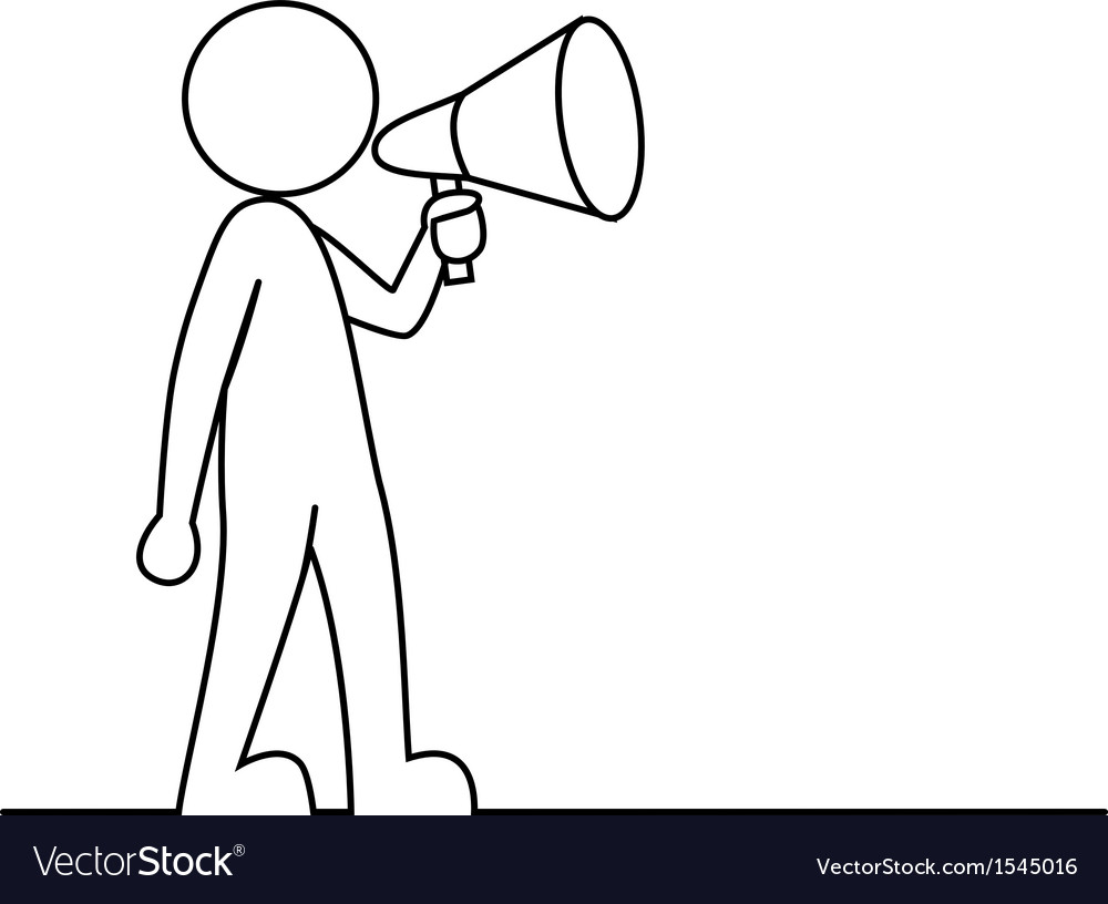 Simple person with megaphone vector | Price: 1 Credit (USD $1)