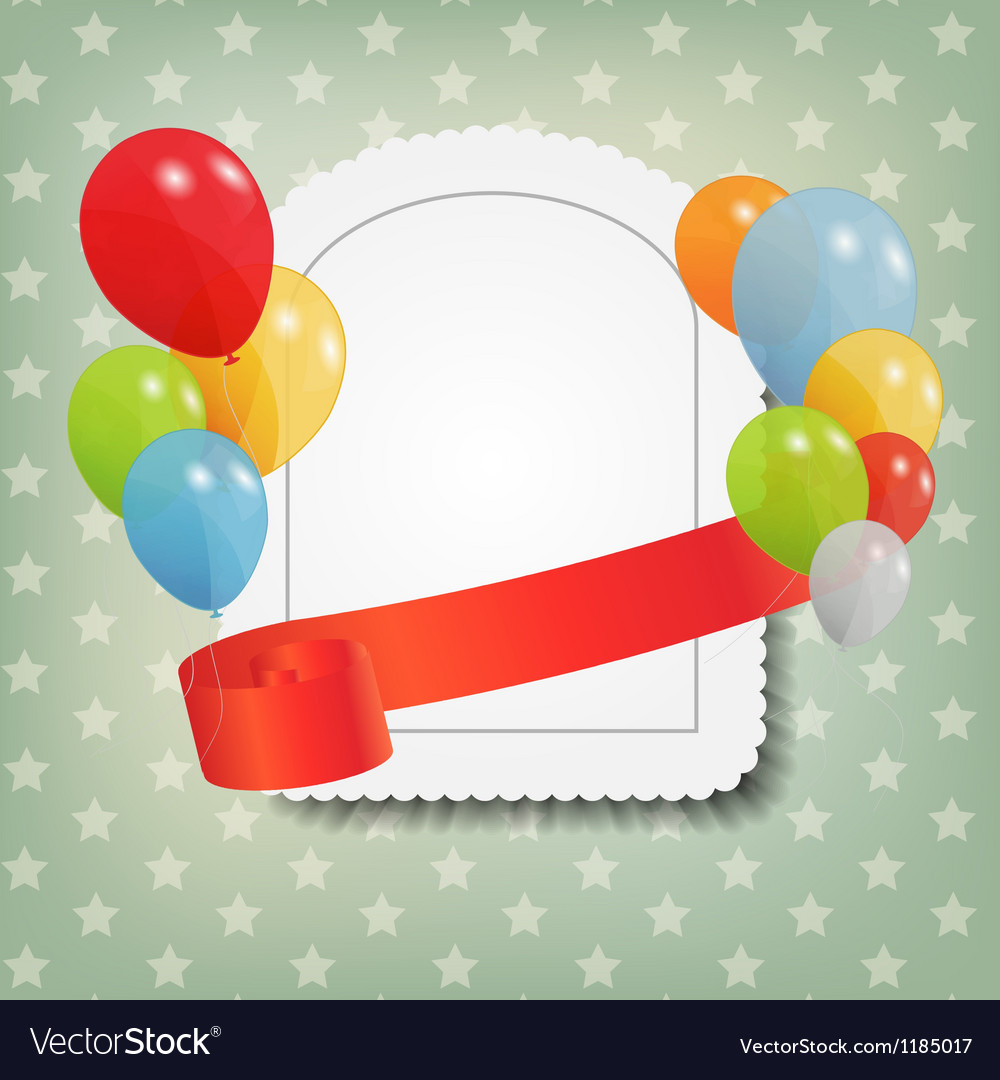 Birthday card with colored ballons vector | Price: 3 Credit (USD $3)