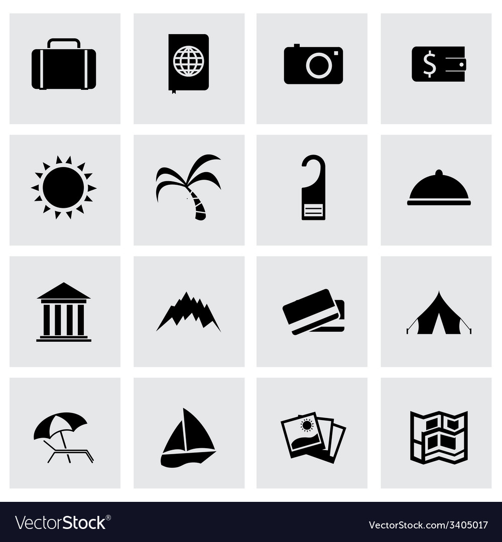 Black travel icons set vector | Price: 1 Credit (USD $1)