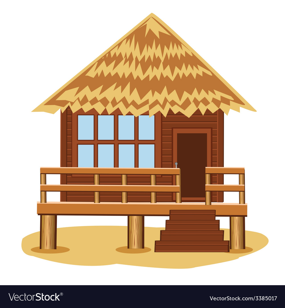 Bungalow on pile vector | Price: 1 Credit (USD $1)