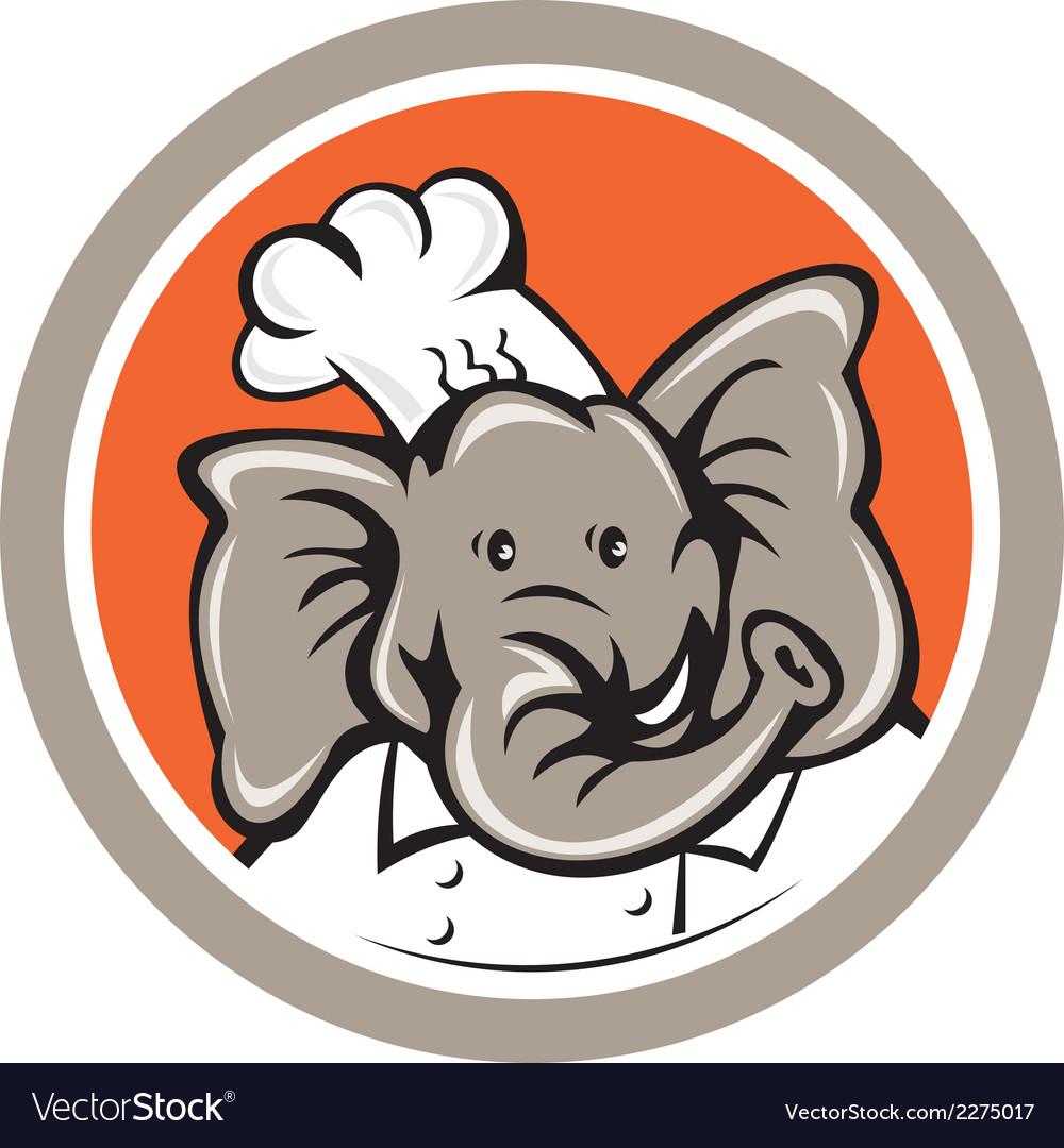 Elephant chef head cartoon vector   Price: 1 Credit (USD $1)