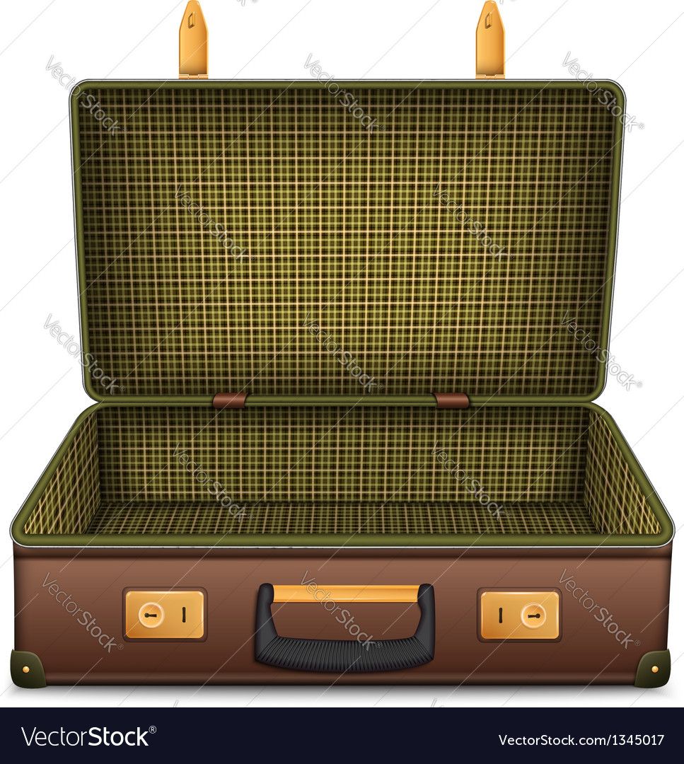 Empty retro suitcase isolated on white vector | Price: 1 Credit (USD $1)