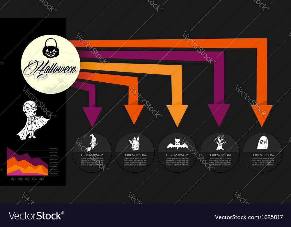 Halloween celebration spooky infographics template vector | Price: 1 Credit (USD $1)