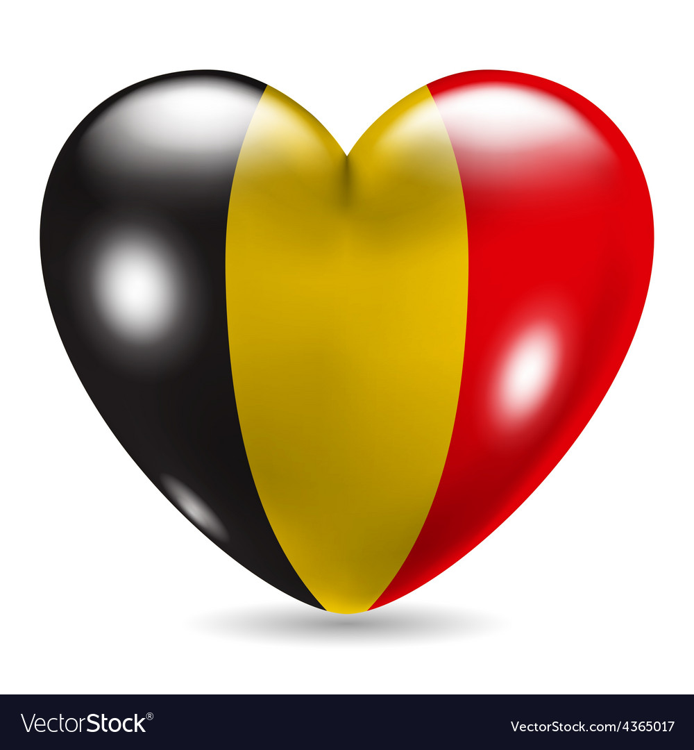 Heart shaped icon with flag of belgium vector | Price: 1 Credit (USD $1)