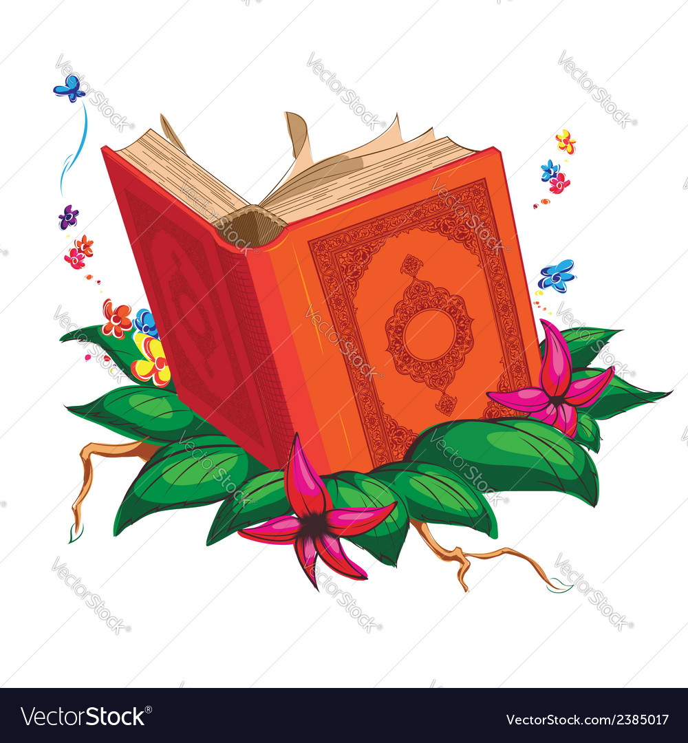 Holy book on leaves surrounded with flowers vector | Price: 1 Credit (USD $1)