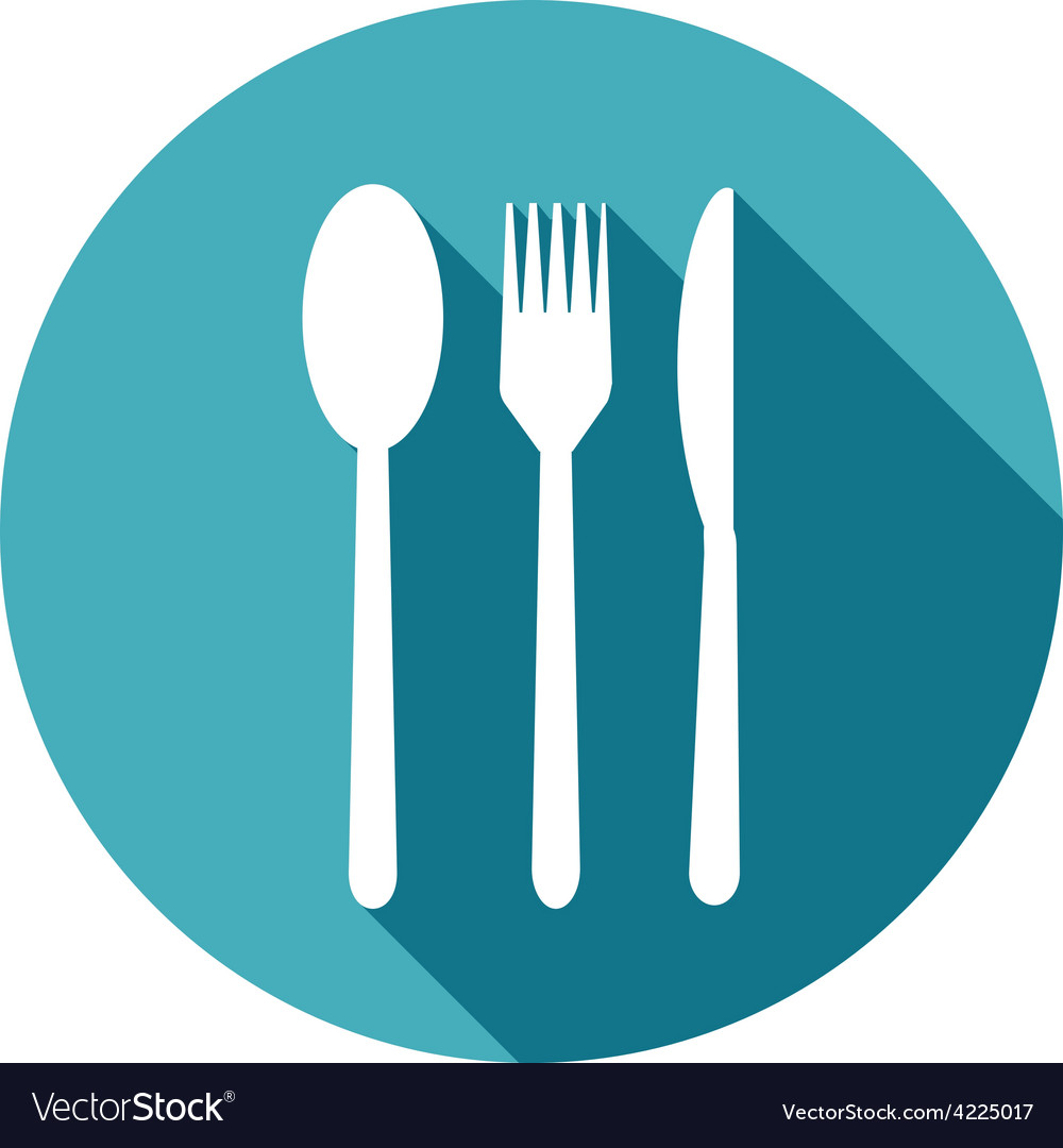 Knife fork and spoon icons set in flat style with vector | Price: 1 Credit (USD $1)