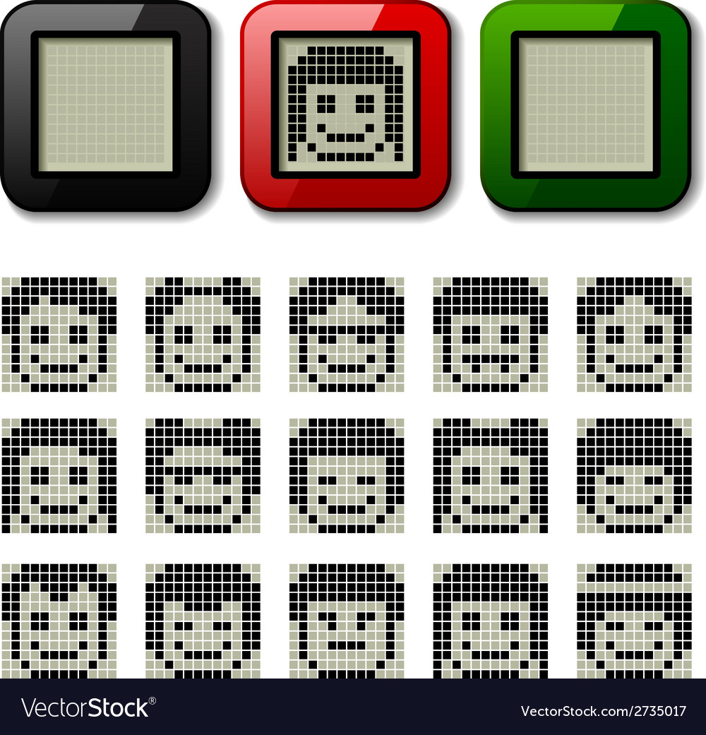 Lcd display pixel faces vector | Price: 1 Credit (USD $1)