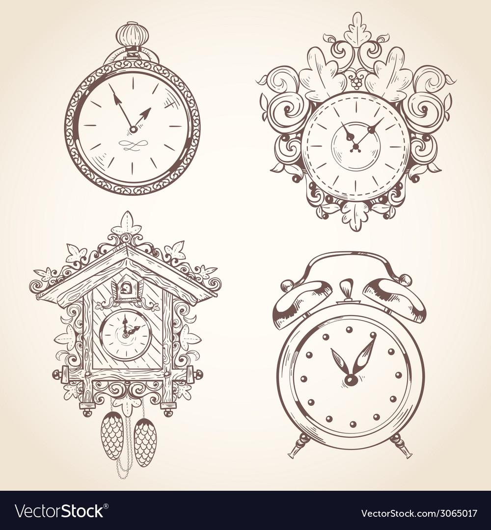 Old vintage clock set vector | Price: 1 Credit (USD $1)