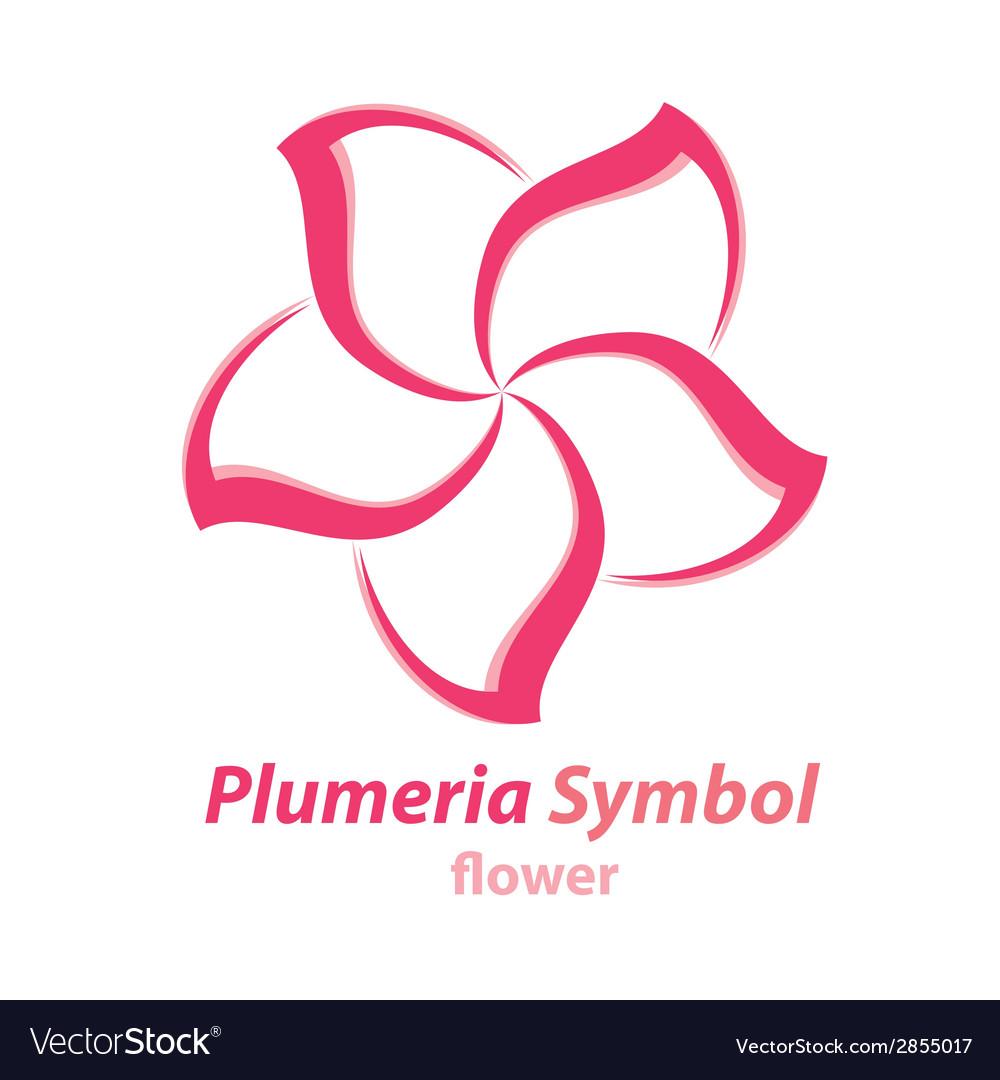 Plumeria frangipani flower symbol vector | Price: 1 Credit (USD $1)