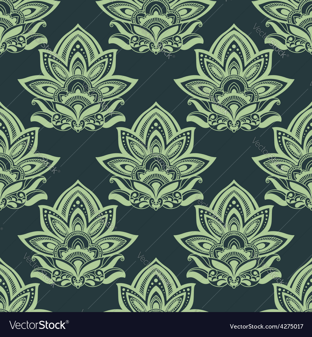 Seamless indian carved paisley green flowers vector | Price: 1 Credit (USD $1)