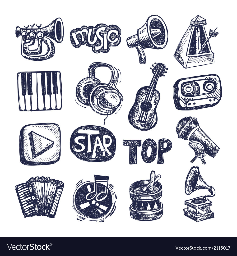 Sketch music icon element collection vector | Price: 1 Credit (USD $1)