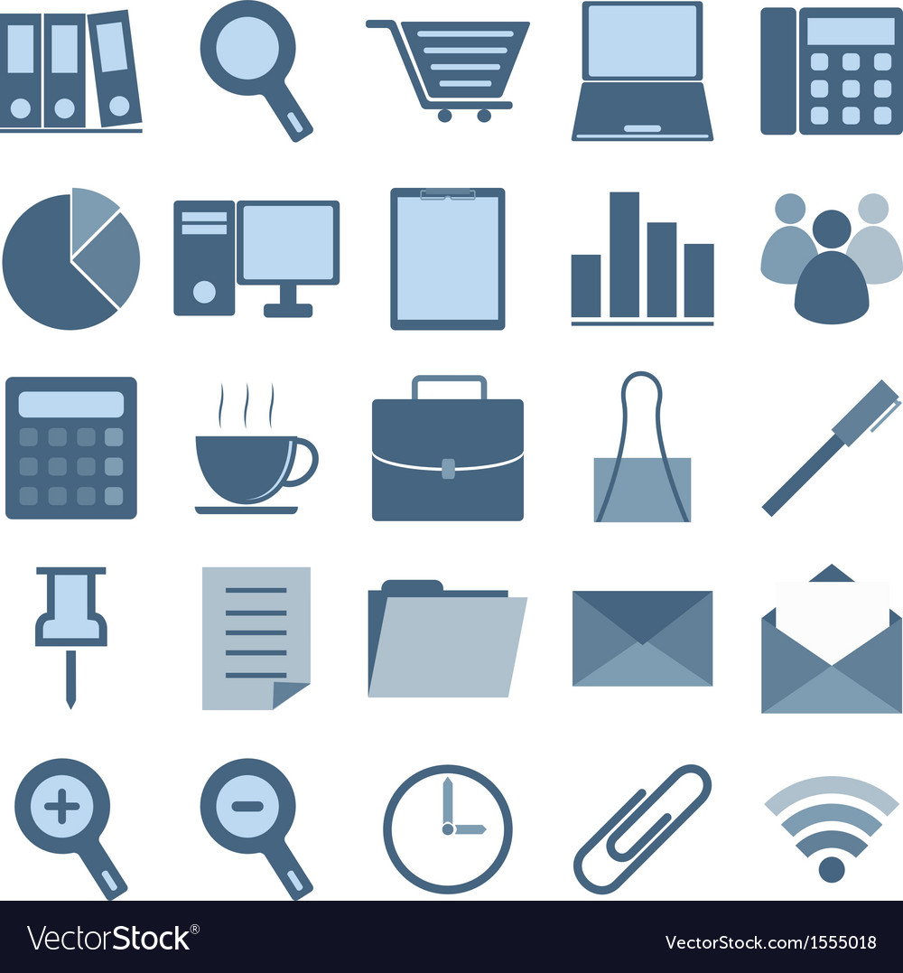 Blue office icons on white background vector | Price: 1 Credit (USD $1)