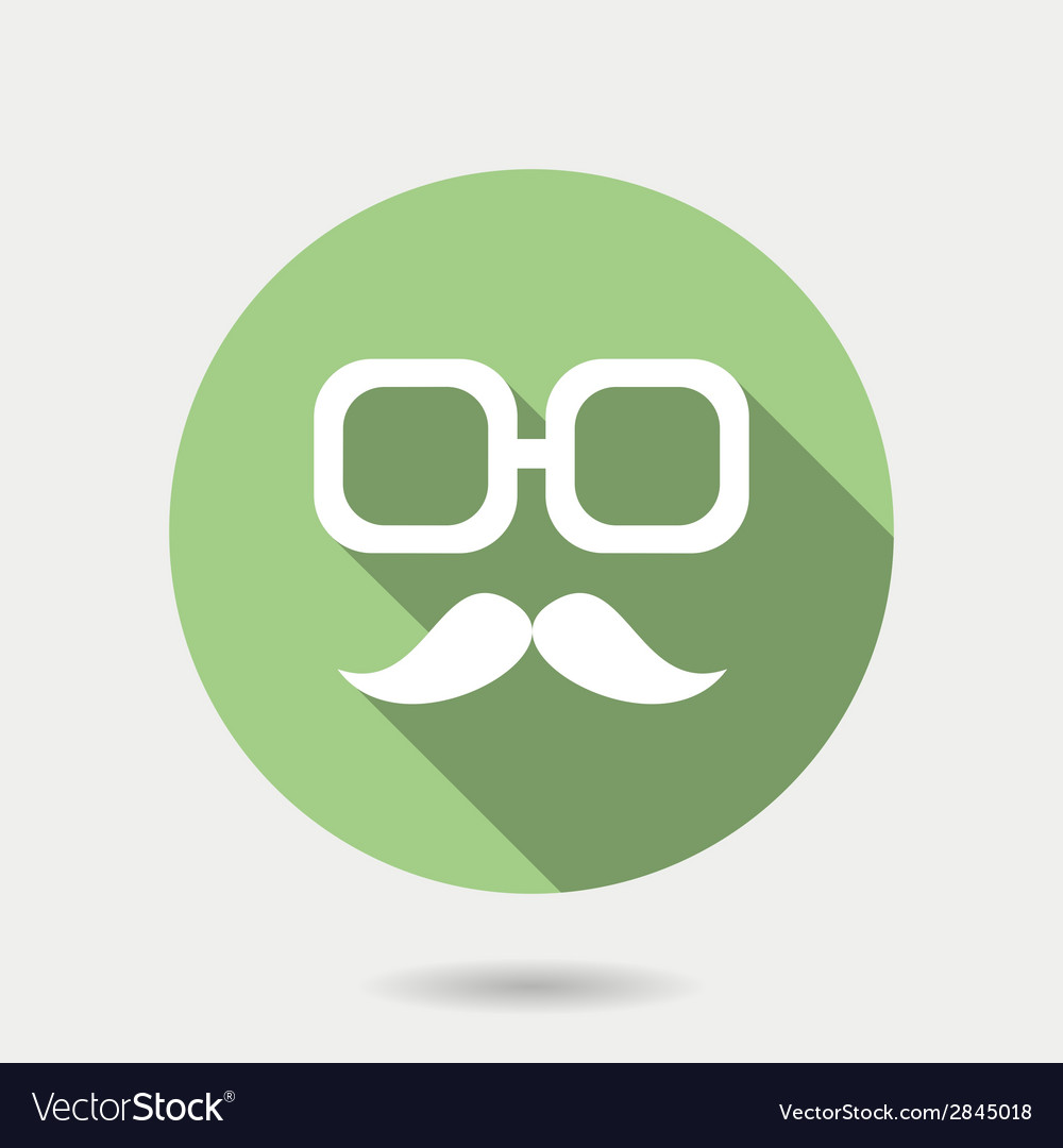 Hipster icon with long shadow hipster moustaches vector | Price: 1 Credit (USD $1)