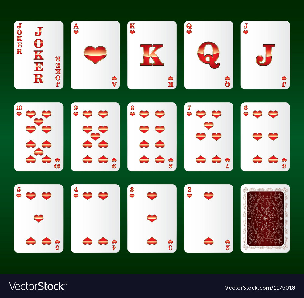 Playing cards set hearts vector | Price: 1 Credit (USD $1)