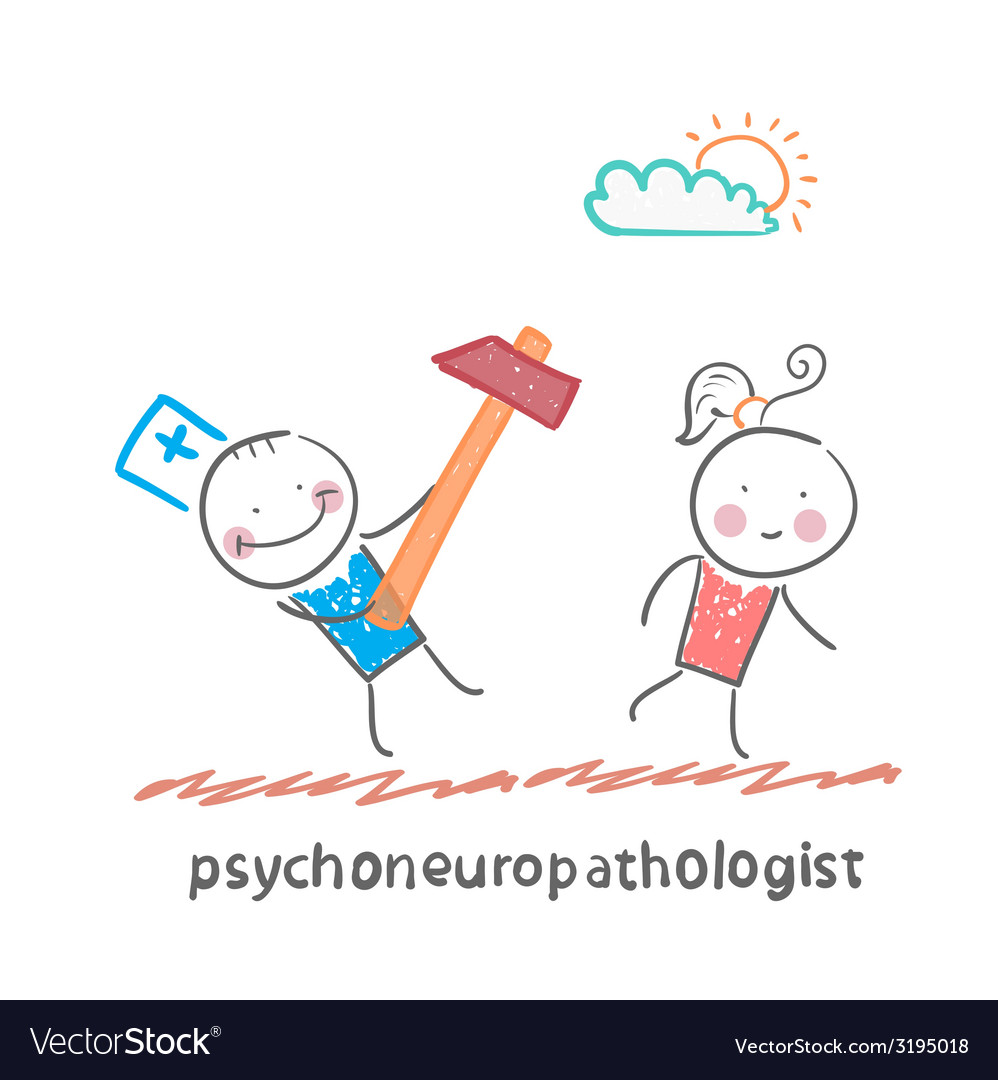 Psychoneuropathologist runs with a hammer for the vector | Price: 1 Credit (USD $1)