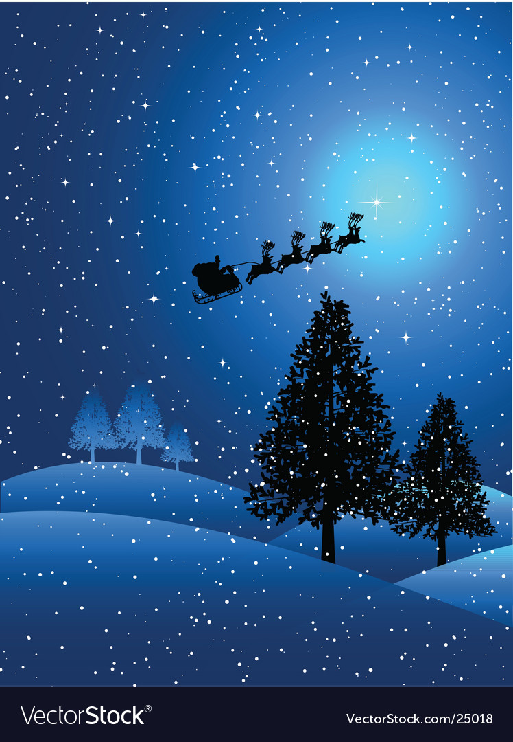 Santa on a snowy night vector | Price: 1 Credit (USD $1)