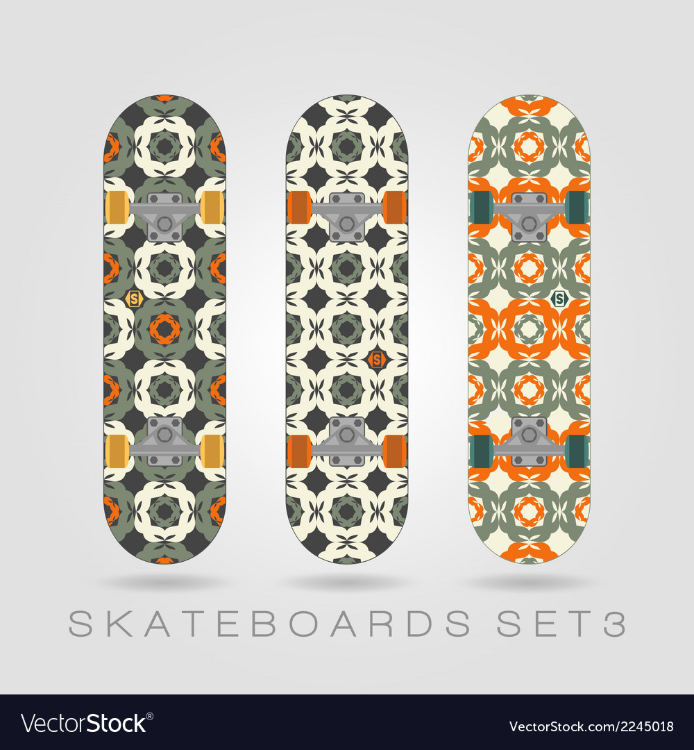 Skateboard set girly tracery vector | Price: 1 Credit (USD $1)