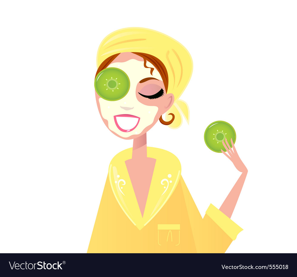 Skin care  girl having spa facial mask vector | Price: 1 Credit (USD $1)