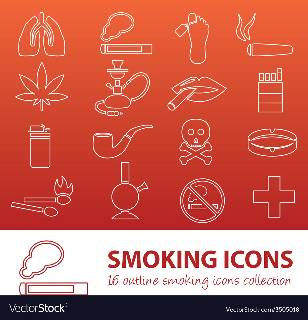 Smoking outline icons vector | Price: 1 Credit (USD $1)