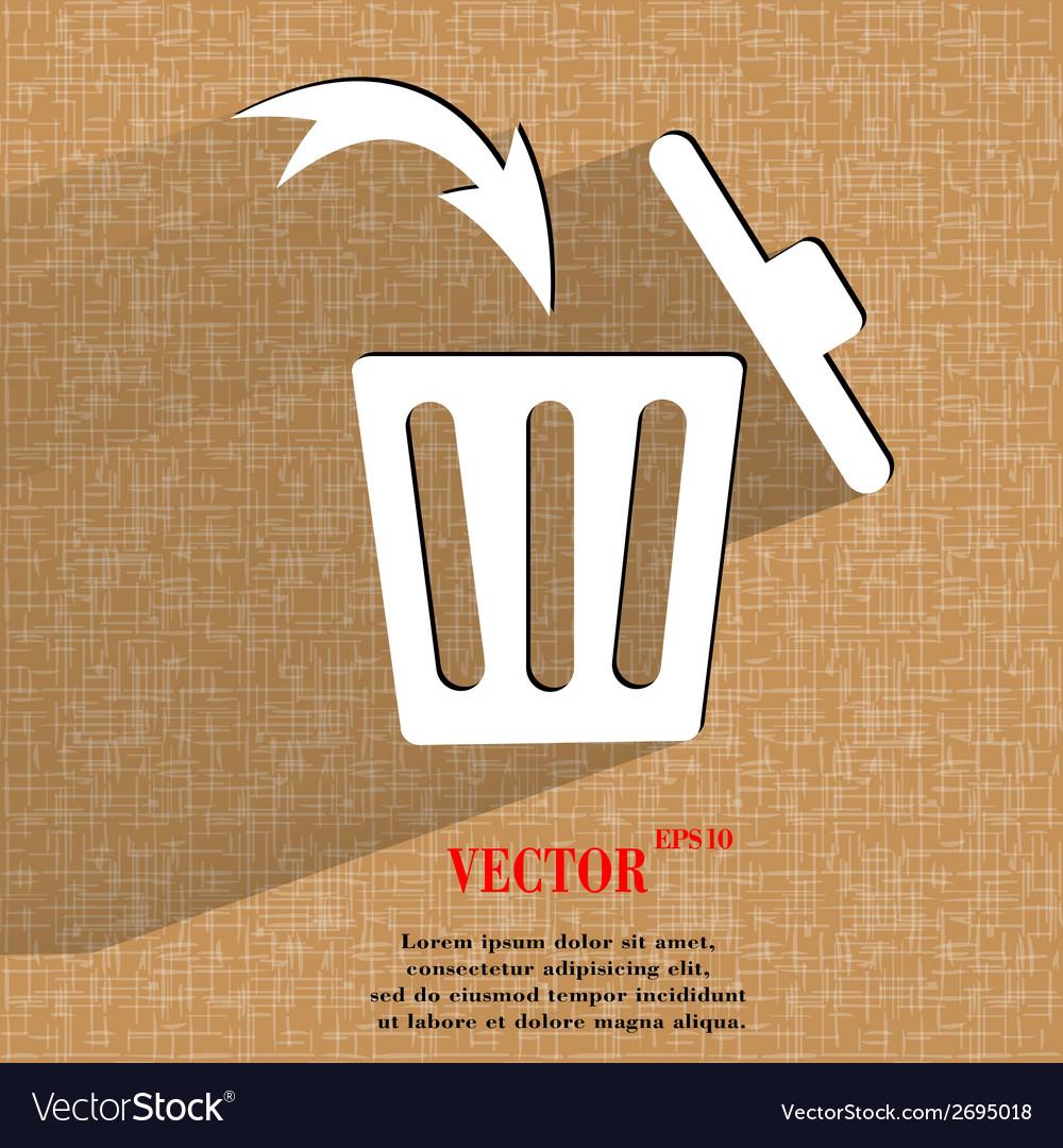 Trash bin flat modern web button on a flat vector | Price: 1 Credit (USD $1)