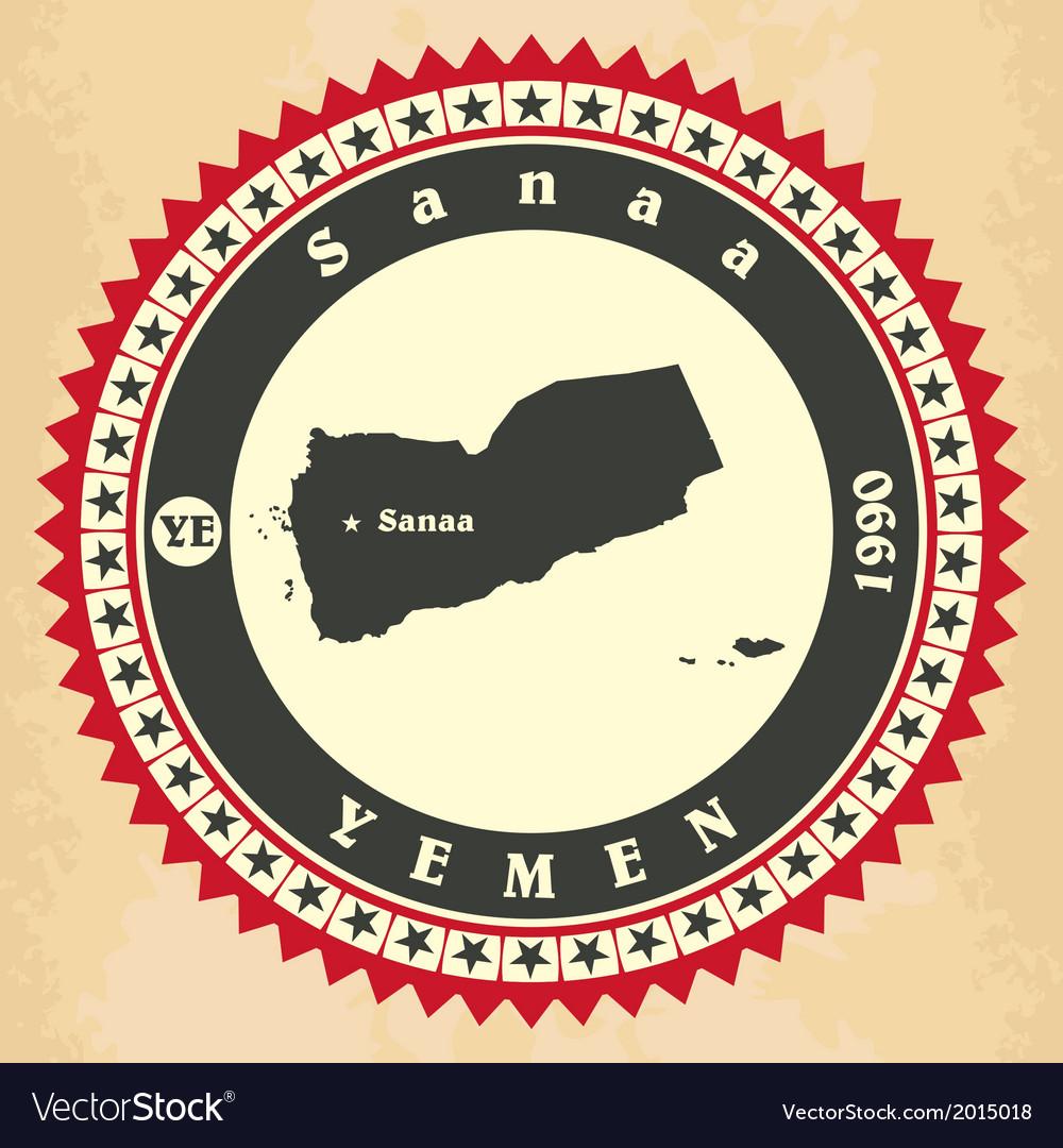 Vintage label-sticker cards of yemen vector | Price: 1 Credit (USD $1)