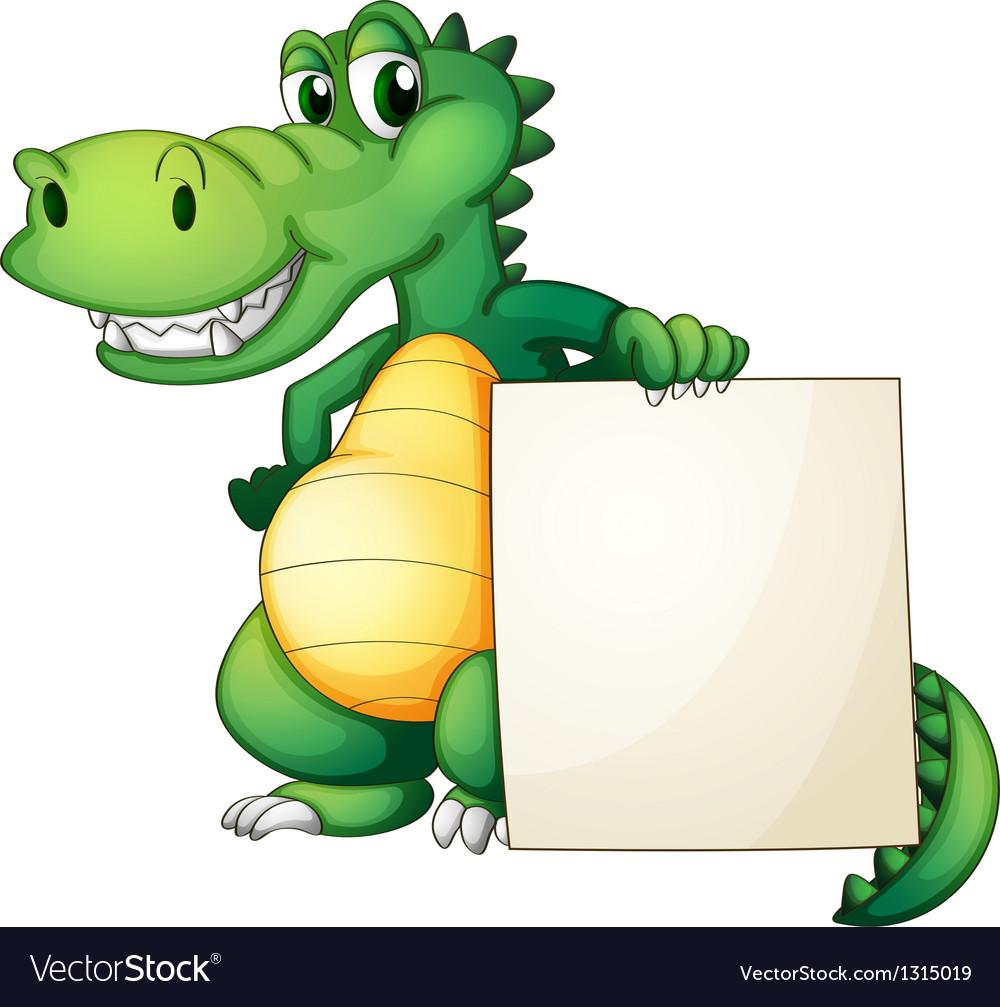 A crocodile holding an empty board vector | Price: 1 Credit (USD $1)