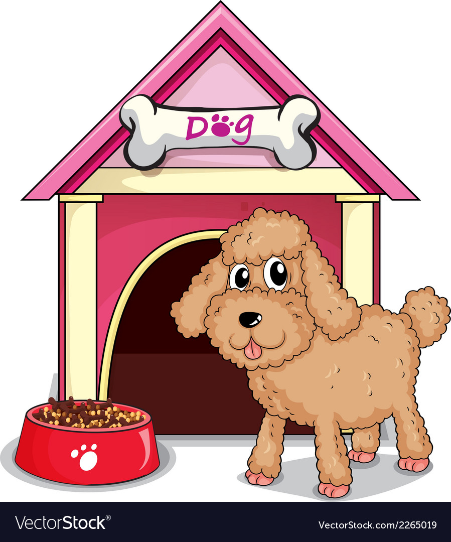 A puppy outside the doghouse vector | Price: 1 Credit (USD $1)